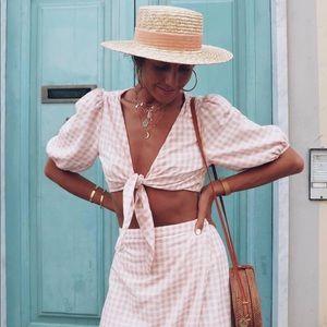 LPA Tie Front Puff Sleeve Crop Top Pink Gingham
